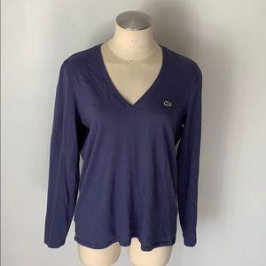 LACOSTE Long Sleeve V-Neck T-Shirt